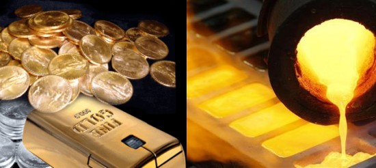 Gold & Silver Coins Being Melted